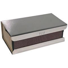 Large American Sterling Art Deco Table Match Box Vesta Case, circa 1930