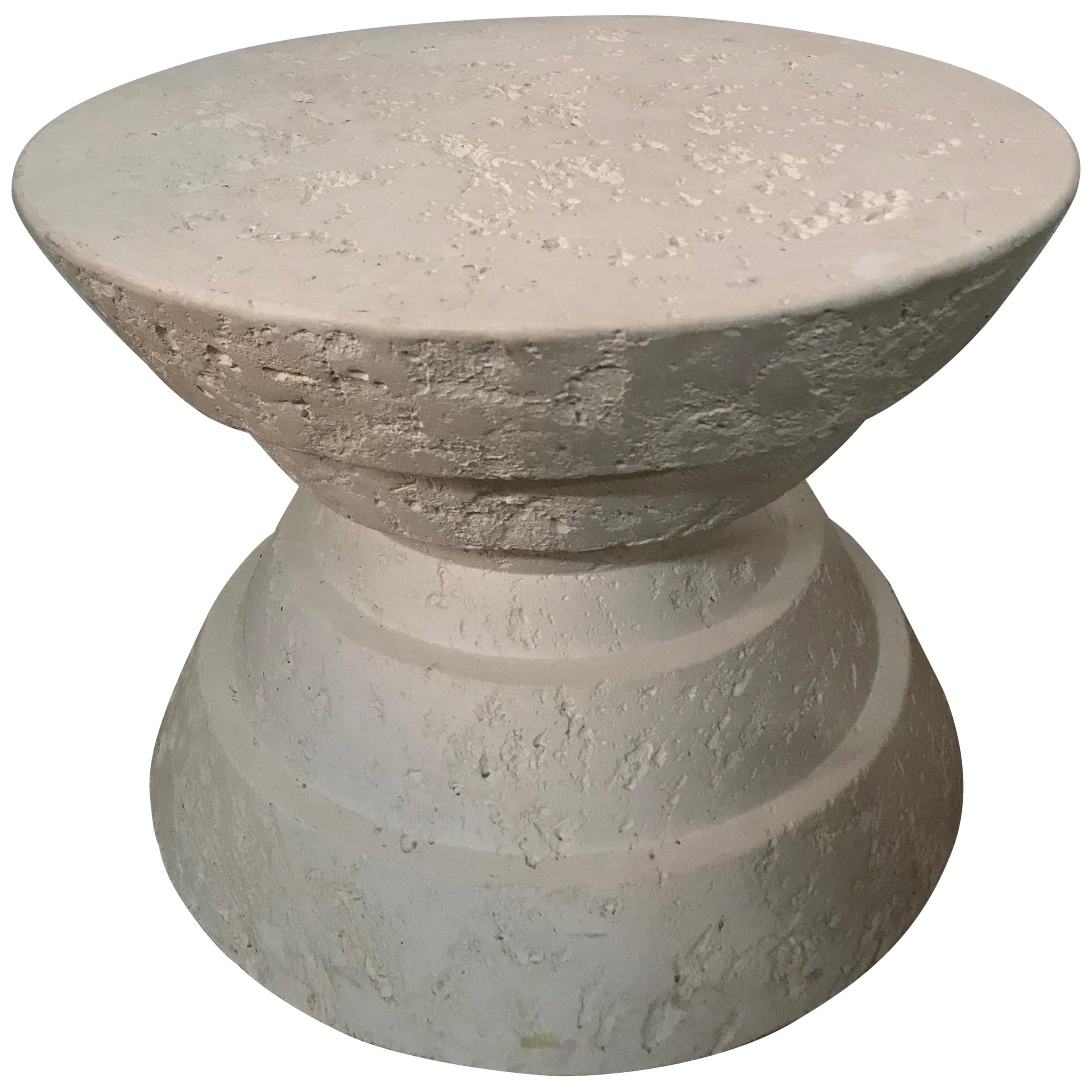 Jaru Cast Stone Postmodern Side End or Occasional Table, Signed, 1986