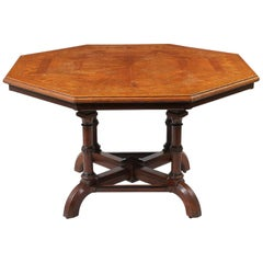 Howard & Sons Octagonal Oak Parquetry Top Centre Table, London, circa 1880