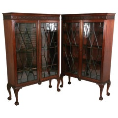 Pair of Late 19th Century Chippendale Revival Mahogany 2-Door Bookcases