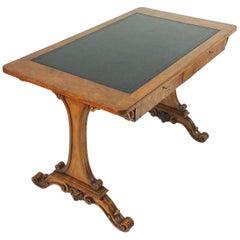 Anfang des 19. Jahrhunderts Satin Birke 2-Schublade Bibliothekstisch