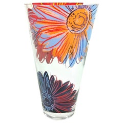 Late 20th Century Rosenthal Blown Glass Crystal Vase with Andy Warhol Design