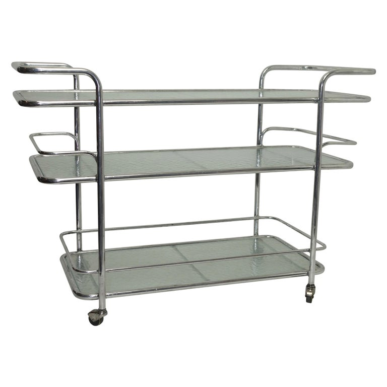 Polished Aluminum Food Service or Bar Cart, American, circa 1950 For Sale