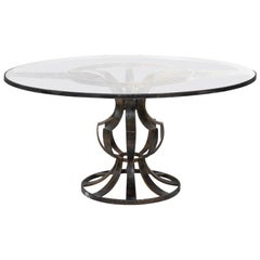 Arturo Pani Patinated Steel Round Dining Table