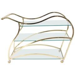 Milo Baughman Style DIA Brass Sculptural Bar Cart