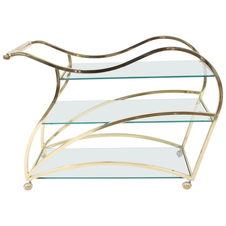 Hollywood Regency Design Institute of America Brass & Glass Sculptural Bar Cart  For Sale
