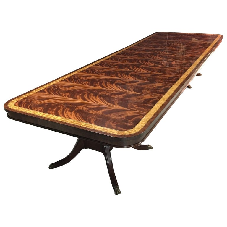 Large Mahogany Regency-Style Banquet Dining Table by Leighton Hall For Sale