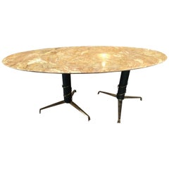 Mid-Century Modern Italian Yellow Marble and Brass Oval Coffee Table, 1950