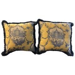 Pair of Louis XVI Style Oversized Toile Pillows, 21st Century