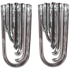 Set of 10 Curved Triedri Sconces by Venini