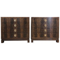 Pair of Flame Mahogany Antique Style Chests