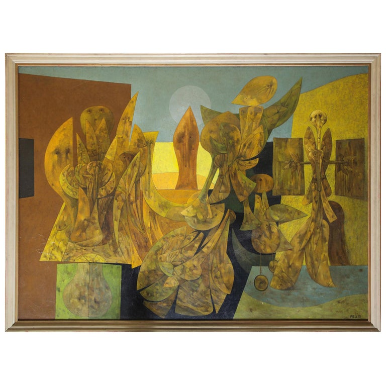 Weller Painting Composed of Futurist Organic Forms, 1940s For Sale