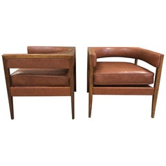 Pair of John Van Koert Walnut Lounge Chairs