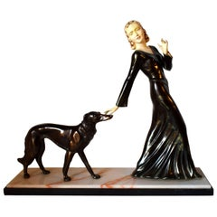 Huge Art Deco Figural Group by M. Secondo 'Lady and Her Dog'