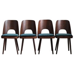Set of 4 Dining Chairs by Oswald Haerdtl in Green Velvet by Kvadrat, Midcentury