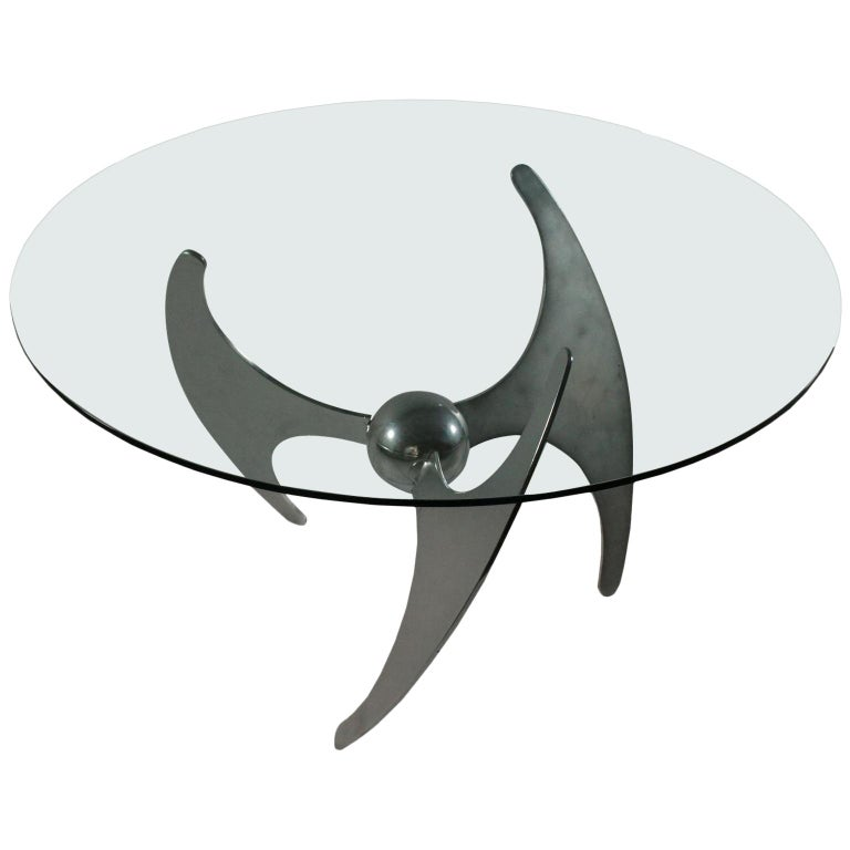 Table by Luciano Campanini Chromed Metal Glass Vintage, Italy, 1970s For Sale
