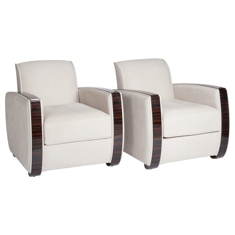 Pair of French Art Deco Macassar Armchairs Sandy Colored Nubuckleather For Sale