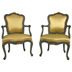 18th Century Gilded and Lacquered Venetian Louis XV Period Pair of Armchairs