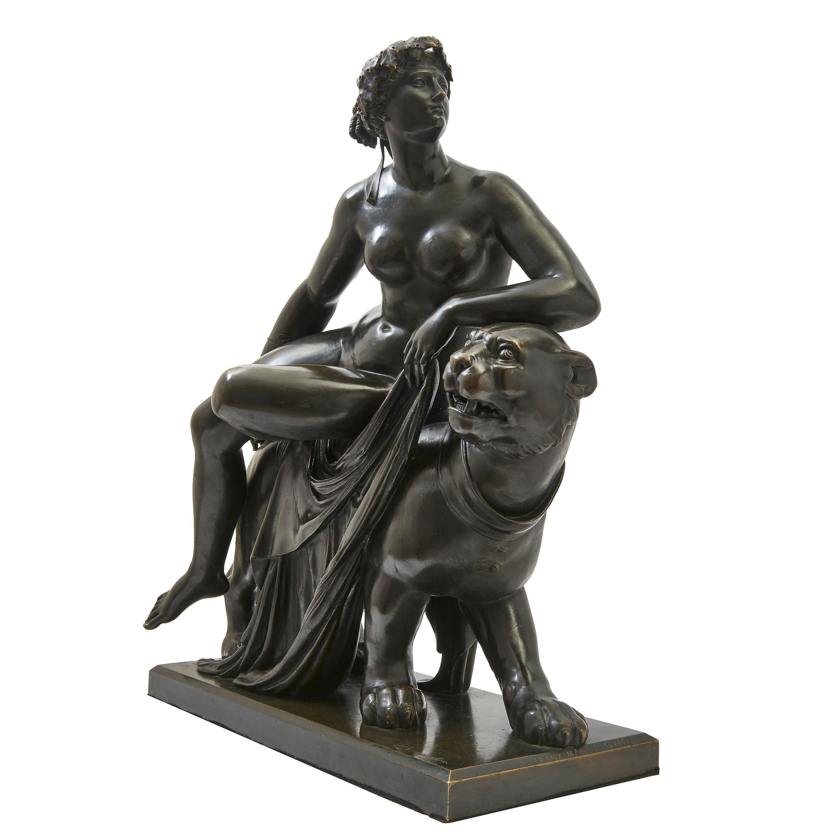 """Bronze Sculpture of """"Ariadne on the Panther"""" After Dannecker, French"""