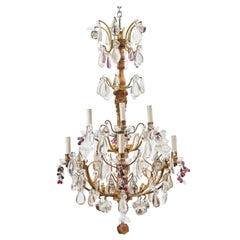 French Napoleon III Giltwood Stem 8-Light Chandelier Glass Fruit Drops