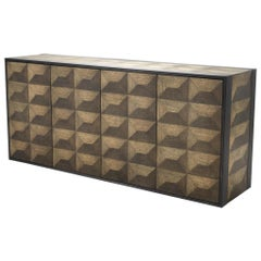 Oak Wooden and Bronze Finish Brutalist Style Sideboard