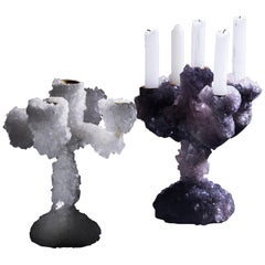 Pair of Crystal Overgrown Candelabras, Mark Sturkenboom