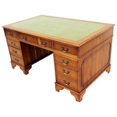 Desk Chesterfield Leather Antique Table English Colonial Style