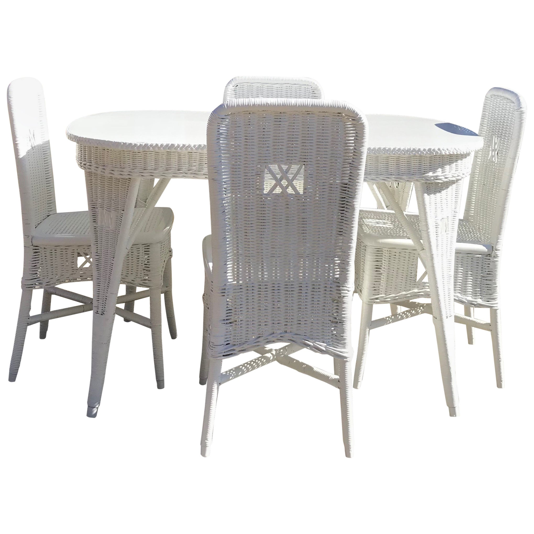 Antique Wicker Dining Table and Chairs