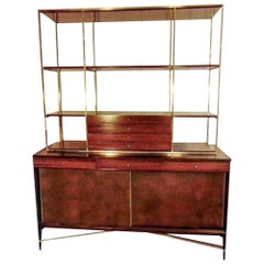 Rare Paul McCobb Brass and Mahogany Bookcase with Leather Covered Doors