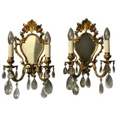 French Pair of Gilded Bronze and Crystal Antique Girandoles