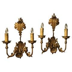 Florentiner Paar vergoldeten Blatt Doppel Arm antike Wandleuchten