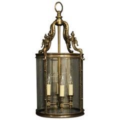 English Bronze 4-Light Antique Convex Lantern