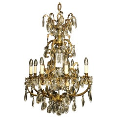 French Late 19th Century Gilded Bronze Crystal Cage Antique Chandelier