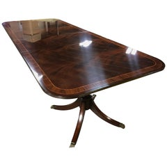 Multi-Banded Wide Mahogany Georgian Style Dining Table by Leighton Hall