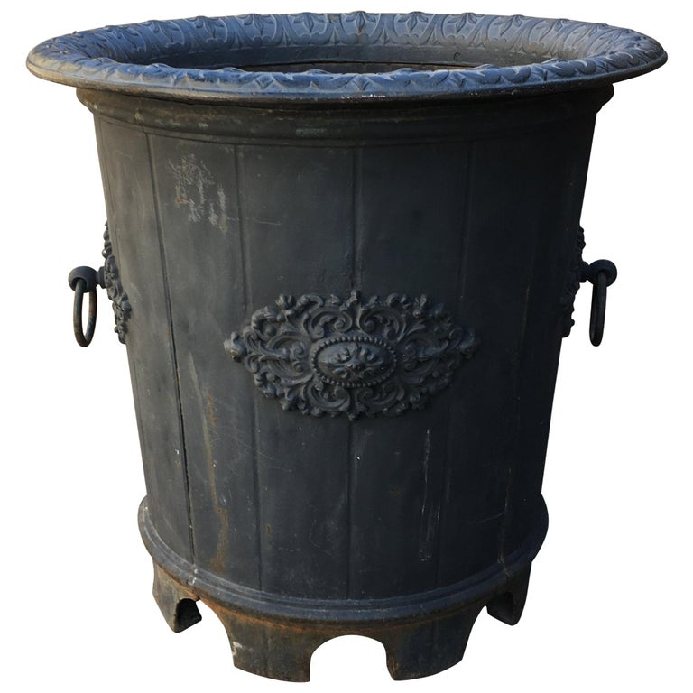 Elegant 19th Century French Cast Iron Garden Planter or Urn For Sale