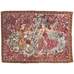"""""""A Lady And Her Falconer"""" Franco-Flemish Tapestry Late XV Century, Reproduction"""