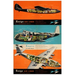 Original Vintage Imperial Airways Poster Empire Flying Boat & Ensign Air Liners