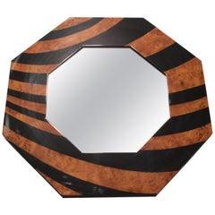 Mid Century Octagon J.C. Mahey Mirror Black Burl Lacquer, 1970s