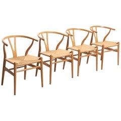 4 'Wishbone' Chairs in Oak Ch24 by Hans Wegner for Carl Hansen