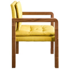 Pair of Bacco Carver Chair in Walnut Upholstered with Lino Mustard, Show Room
