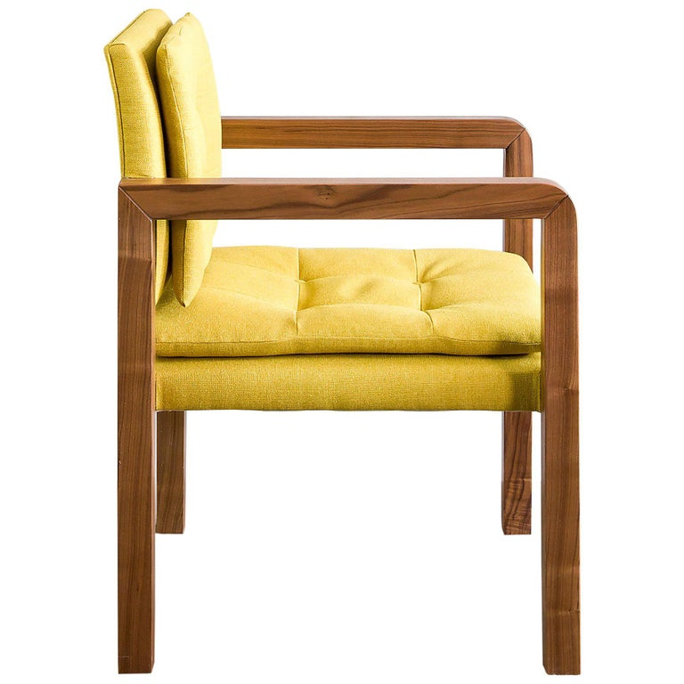 Pair of Bacco Carver Chair in Walnut Upholstered with Lino Mustard, Show Room For Sale