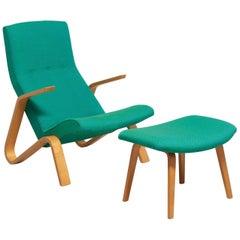 Grasshopper Chair with Ottoman by Eero Saarinen for Knoll International