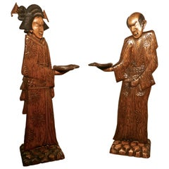 Pair of Carved Japanese Carved 3D Dumb Waiters or Card Butler Greeters