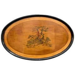 Large Ebonized Wooden Tray, Table or Wall, England, 1930s