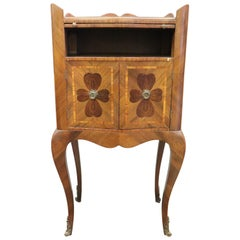 20th Century Italian Louis XV Style Inlay Wood Side Table or Nightstand
