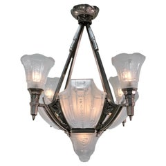 French 1920s Art Deco Chandelier by Muller Freres