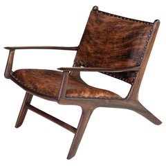 Midcentury Design and Danish Look Teak Wooden and Leather Lounge Armchair