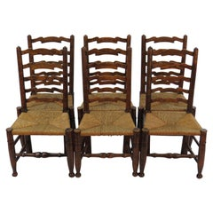 English Oak Set of Six Ladder Back Dining Kitchen Chairs