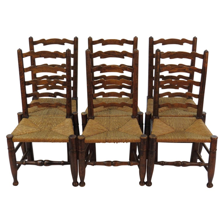 Kitchen Chairs For Sale: English Oak Set Of Six Ladder Back Dining Kitchen Chairs
