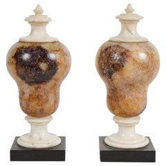 Pair of Blue John Fluorspar Decorative Urns